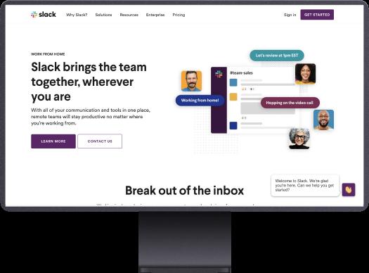 slack website design