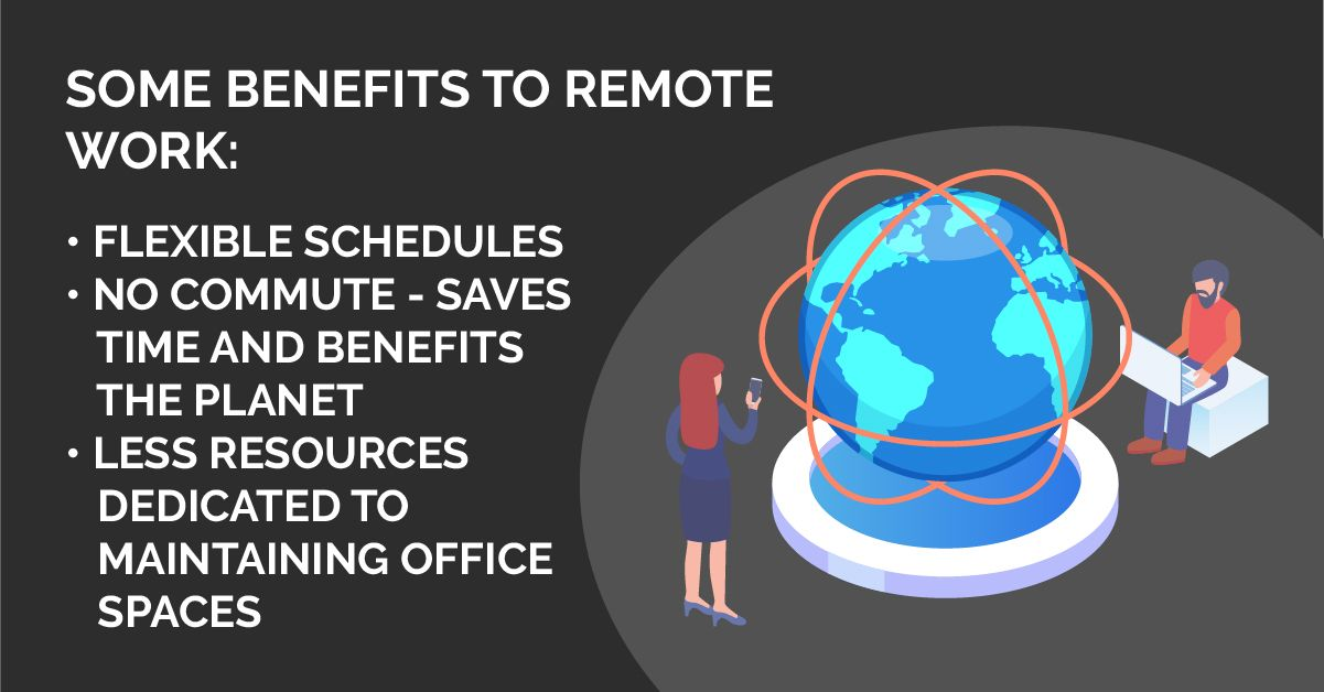 remote workers and remote tech jobs - benefits include time saved and environmental impact