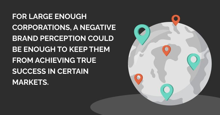 international strategy - sometimes a large corporation is perceived negatively in a certain market making it difficult for them to enter